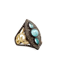 Armenta Old World Marquis Peruvian Opal And Diamond Shield Ring