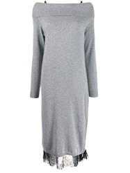 Twin Set Off The Shoulder Knit And Lace Dress Grey
