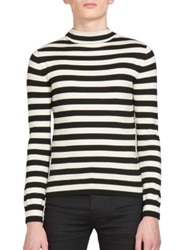 Saint Laurent Striped Mockneck Sweater Black White