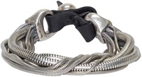 Goti Silver And Leather Snake Chain Bracelet
