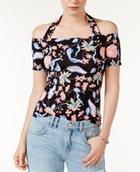 Guess Frida Off The Shoulder Halter Top A Macy's Exclusive Style Floral Estate Jet Black