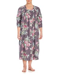 Carole Hochman Plus Printed Flannel Gown Grey