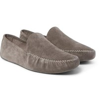 Loro Piana Maurice Cashmere Lined Suede Slippers Gray