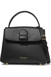 Burberry Textured Leather And Checked Canvas Shoulder Bag Black