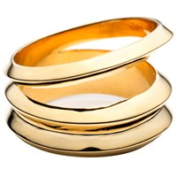 Third Crown Hedron Three Row Ring Gold