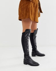 Aldo Byssa Over The Knee Flat Boot In Black Leather