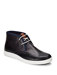 Ben Sherman Grained Lace Up Ankle Boots Navy