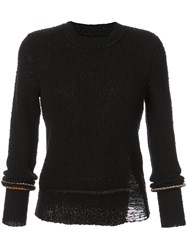 Raquel Allegra Long Sleeve Distressed Knitted Sweater Women Cotton Polyester 0 Black