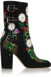 Laurence Dacade Merli Floral Embroidered Canvas Ankle Boots
