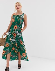 Qed London High Low Midi Dress In Tropical Floral Print Green