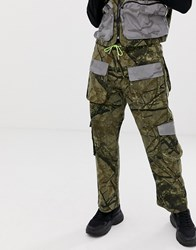 Jaded London Utility Trousers In Camo Print With Reflective Pockets Green