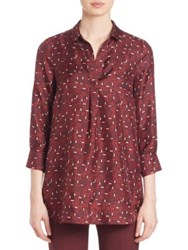 Piazza Sempione Printed Silk Tunic Bordeaux