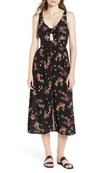 Lost Wander Floral Midi Dress Black Floral