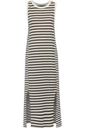 Current Elliott Woman The Perfect Muscle Striped Pima Cotton Jersey Midi Dress Off White Off White
