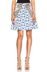 Stella Mccartney Mini Skirt In Blue White Animal Print Abstract