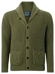 John Lewis And Co. Slub Cotton Shawl Neck Cardigan Khaki