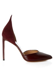 Francesco Russo Snakeskin And Suede Point Toe Pumps Burgundy