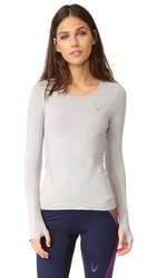 Lucas Hugh Core Technical Knit Long Sleeve Top Grey Marl