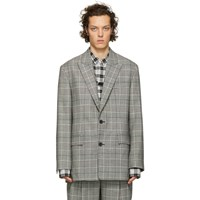 Juun.J Black And Grey Houndstooth Strap Blazer