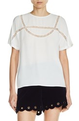 Maje Women's Lace Inset Top White