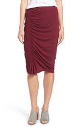 Vince Camuto Asymmetrical Side Ruched Pencil Skirt Manor Red