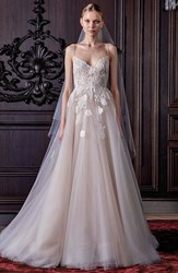 Women's Monique Lhuillier 'Severine' Chantilly Lace And Tulle Gown Silk White Nude