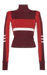 Emilio Pucci Burgundy Colorblocked Turtleneck Pullover