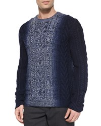 Vince Degrade Cable Knit Crewneck Sweater Blue