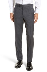 Ted Baker London Jefferson Flat Front Check Wool Trousers Grey