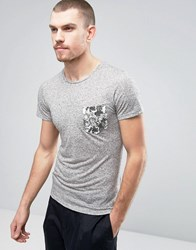 Casual Friday T Shirt With Floral Print Pocket Gray