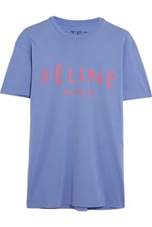 Brian Lichtenberg Feline Printed Cotton Jersey T Shirt Purple