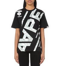 Aape By A Bathing Ape Camouflage Print Cotton Jersey T Shirt Black