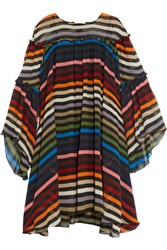 Sonia Rykiel Ruffled Striped Silk Chiffon Dress Red