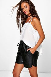 Boohoo Faux Leather Lounges Length Shorts Black