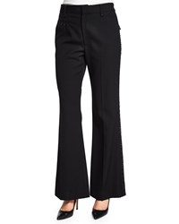 Marc Jacobs Flare Leg Pants W Embellished Trim Black