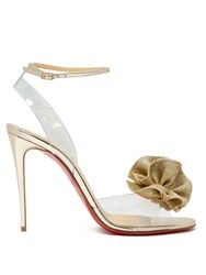 Christian Louboutin Fossiliza Flower Embellished Sandals Gold