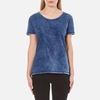 Maison Scotch Women's Home Alone Loose Crew Neck T Shirt Indigo Blue