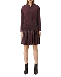 Allsaints Briar Drop Waist Silk Shirt Dress Damson Red