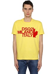 Dsquared Printed Cotton Jersey T Shirt Yellow