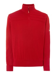 Oscar Jacobson Orson Lined Half Zip Jumper Raspberry