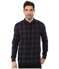 Alternative Apparel Expedition Flannel Long Sleeve Midnight Men's Long Sleeve Button Up Navy