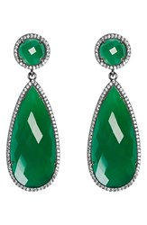 Susan Hanover Women's Semiprecious Stone Double Drop Earrings Emerald Green Gunmetal