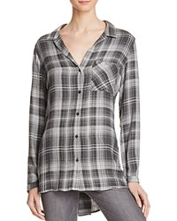 Bella Dahl Side Slit Plaid Tunic Oxford Grey