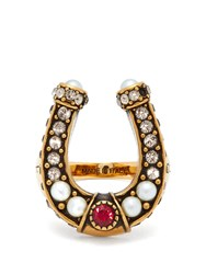 Alexander Mcqueen Faux Pearl And Crystal Embellished Horseshoe Ring Gold