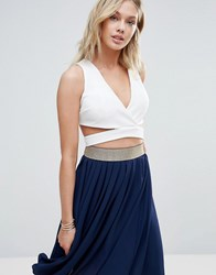Wal G Cross Front Crop Top White