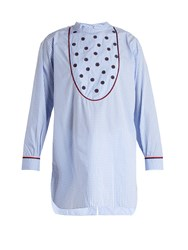 Jupe By Jackie Bennicassim Embroidered Gingham Cotton Shirt Blue White