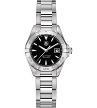 Tag Heuer Way1410.Ba0920 Aquaracer Stainless Steel And Leather Watch Black