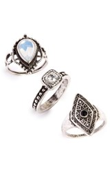 Topshop Antiqued Stone Rings Set Of 3
