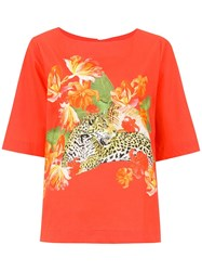 Isolda Luiza Placement Printed Top Yellow And Orange