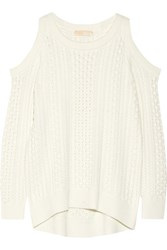 Michael Michael Kors Cutout Cable Knit Sweater Ecru